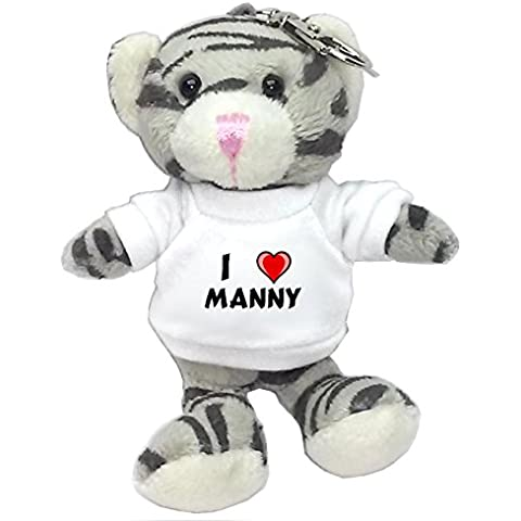 Gato gris de peluche (llavero) con Amo Manny en la camiseta (nombre de pila/apellido/apodo)