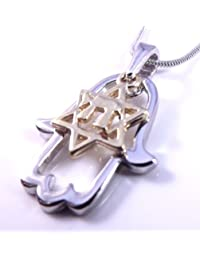 Star Of David Chai And Hamsa Necklace & Pendant Comes In A Red Gift Pouch