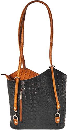 2 in 1 Handtasche Rucksack Designer Luxus Henkeltasche aus Echtleder in versch. Designs Kroko Schwarz-Cognac