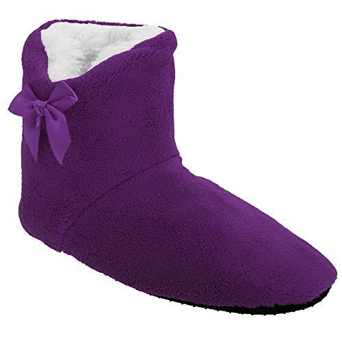 Universal Textiles Damen Hausstiefel mit Schleife (36-41 EU) (Violett)