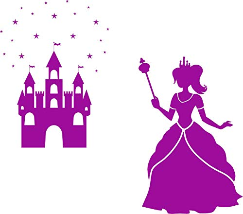 EmmiJules Wandtattoo Prinzessin mit Schloss und Sternen - mit Namen möglich - Made in Germany - in verschiedenen Farben und Größen - Mädchen für Kinderzimmer Wandaufkleber (90cm x 80cm, violett) (Wandtattoo Prinzessin Schloss)