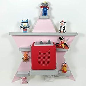 Tonie Board, Stern *Farbwahl* mit grauen Regalen, ideale Aufbewahrung für Tonie Box und Tonie Figuren, Kinderzimmer Regal, Deko Board, Musikboxaufbewahrung, Hängeregal