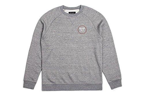 Brixton herren apparel wheeler crew, uomo, wheeler crew, heather grey/brick, m