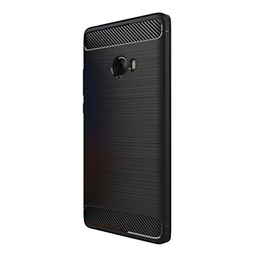 XiaoMi Mi Note 2 Hülle - Ultra Dünn Weich TPU Handys Rückseite Hülle Stoßfest Drop Resistance mit Kohlefaser Design Schutzhülle für XiaoMi Mi Note 2 Smartphone - Schwarz