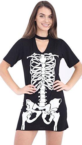 Damen Mädchen Halloween-Skelett , figurbetontes Kleid Leggings Bodysuit plus EUR Größe 36-54 (L/XL (EUR 44-46), Skeleton Choker Hals Kleid / (Body Größe Plus)