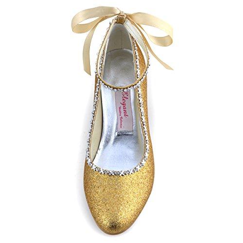 Elegantpark EP31010 Femmes PU Bout Rond Scintillant Bride Cheville Ruban Chaine Soiree Chaussures de Mariee Champagne