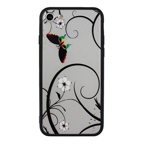3 PCS iPhone 7 2 in 1 Hybrid Tasche, iPhone 7 Hülle Silikon, iPhone 7 Case Silikon, iPhone 7 Backcase, Moon mood® Soft TPU + Hart PC Case [ 2 in 1] Relief Handyhülle Schutzhülle Case für Apple iPhone  Stil - 1