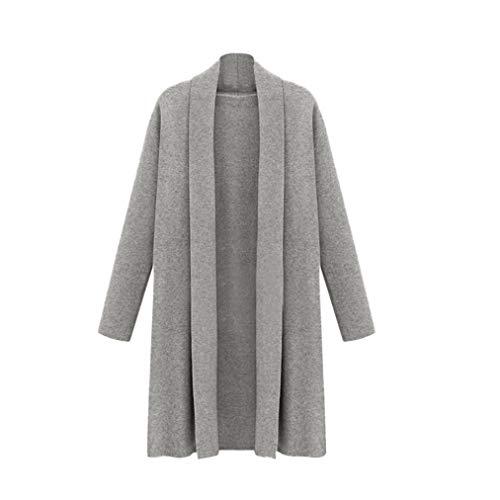 Lucky mall Frauen öffnen Trenchcoat Lange Umhang-Jacken Überzieher-Strickjacke, Frauen Langärmeliger Mittellangmantel