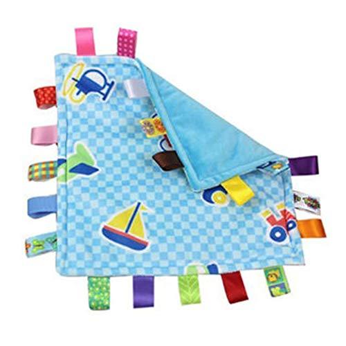 Baby Dusche Geschenk rosa Tag Tröster Sicherheitsdecken mit bunten Tags Säuglinge Kleinkinder weichen Plüsch Taggies Decke