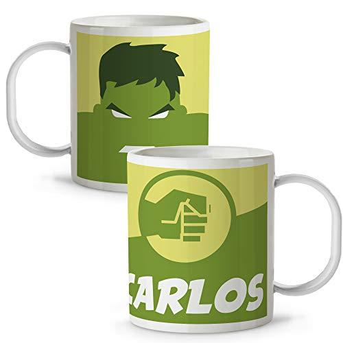 Lolapix Taza plástico Personalizada Hulk con Nombre. Superheroes. Friki. Varios diseños.