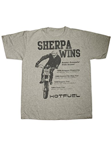 Hotfuel Sherpa Gewinnt Motorrad Print T Shirt Alle Größen Gr. Medium, Grau - Grau (Bultaco Motorräder)