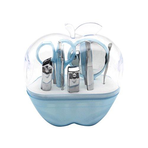 ounona 9 en 1 pour acier inoxydable Femme Scissor Nail Clipper sourcils Miroir cosmétique Set (Sky Blue)