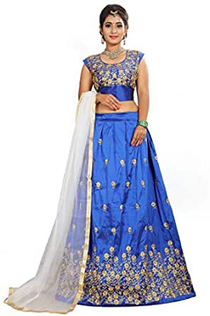 Buy Prasha Fashion Women's Taffeta Semi Stitched Lehenga