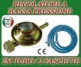 REGOLATORE BASSA PRESSIONE CUCINE STUFE BARBECUE GAS + 2M DI TUBO + 2 FASCETTE