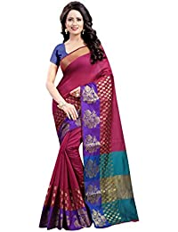 Vatsla Enterprise Women's Cotton Silk Saree (VGULAB003DARKPINK_PINK)