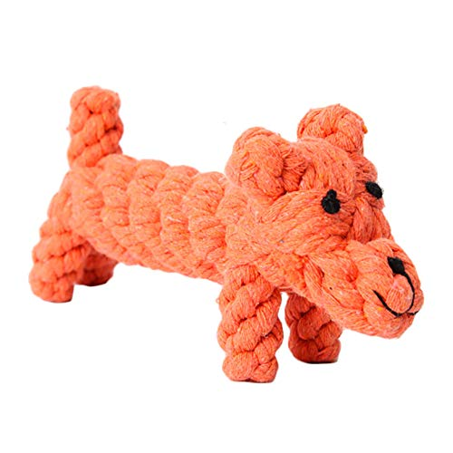 DaoRier Hundespielzeug Kauspielzeug Personalisierte Tier Thema Design Geflochten Baumwollseil für Hunde Haustier Spielzeug (Hund-Orange) -