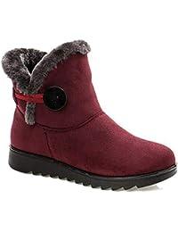 Femme Filles Chaussures Bottes de Neige Hiver avec Fourrure à Talons Plats Chaude Boots Plates Chaussures Fermeture Éclair Bottines Noir Marron