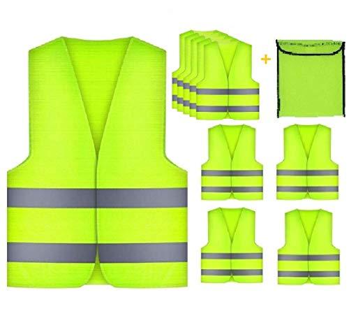 GibtPlus+ 5 Stück Warnweste Gelb Weste Reflektierende Sicherheitfür KFZ Arbeitskleidung, Nacht Laufen Radfahren Mann Nacht Warnung, EN ISO 20471 -