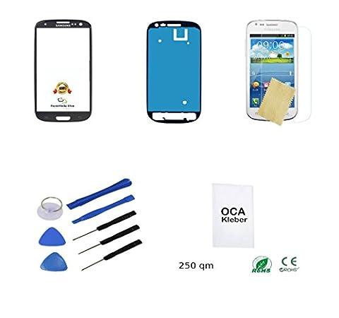 Samsung Galaxy S3 Display Touchscreen Digitizer Glas Scheibe in SCHWARZ + Werkzeugset + OCA Kleber + Rahmenkleber + (Galaxy S3 Display Kaufen)