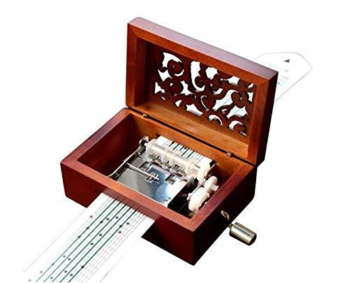 cuzit envejecido Vintage grabado de madera caja de música caja Musical de manivela 15Nota movimiento DIY hacer yr propia canción incluyen un Punch, 20papel blanco y 16música papel mejor regalo