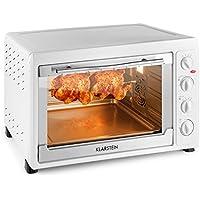 Klarstein Masterchef 60 • Min four • Grill avec tournebroche • 60 litres • 2500 watts • 6 éléments chauffants • températures de 100 à 230° C • inox • espace de cuisson éclairée • Timer • blanc