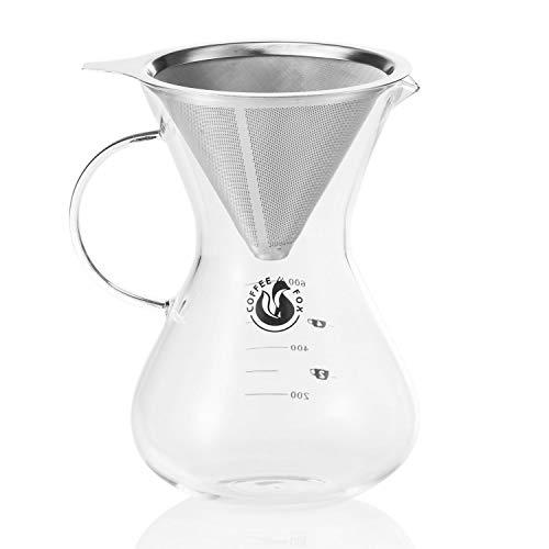 Kaffeezubereiter Pour Over Kaffeebereiter mit Dauerfilter aus Edelstahl und Kaffee-Karaffe