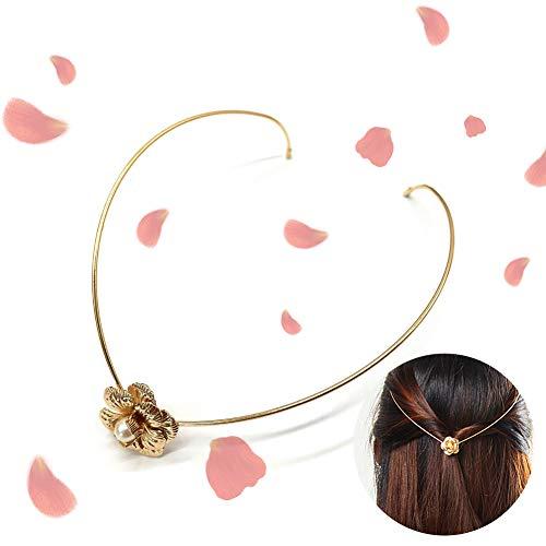1PC Handgefertigte Metallhaar-Band eleganten Strass Haarschmuck süße Haar-Band-Zusätze Rose Gold Kopfschmuck Hochzeit Haarschmuck für Frauen Mädchen (Blumen & Pearl)