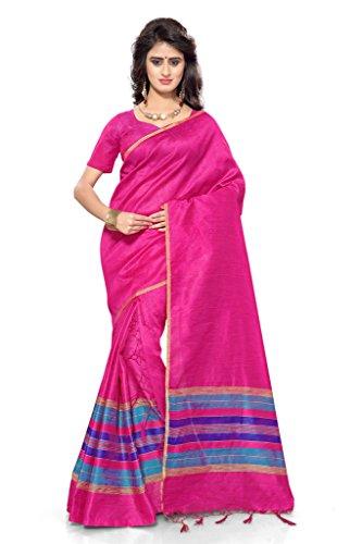 S. Kiran's Women's Pink-Gajri Artificial Khecha Mekhla Chador - Mekhela Sador