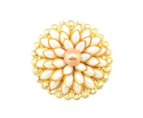 Saree Pin Brooch Saree Accessories Decorated With White Pacchi , beads &...