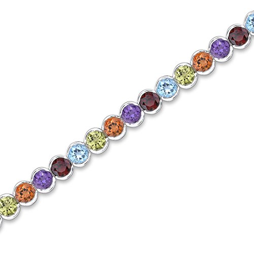 Revoni Must Have Fabulous 17.75 carats total weight Round Cut Rainbow Color Multi-Gemstone Tennis Bracelet in Sterling Silver