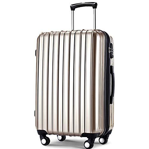 HUANGA Valigia trolley, valigia multiuso con password aziendale, valigia regolabile telescopica, 360 gradi - 4 colpi (Color : Champagne, Dimensione : 20 inches)