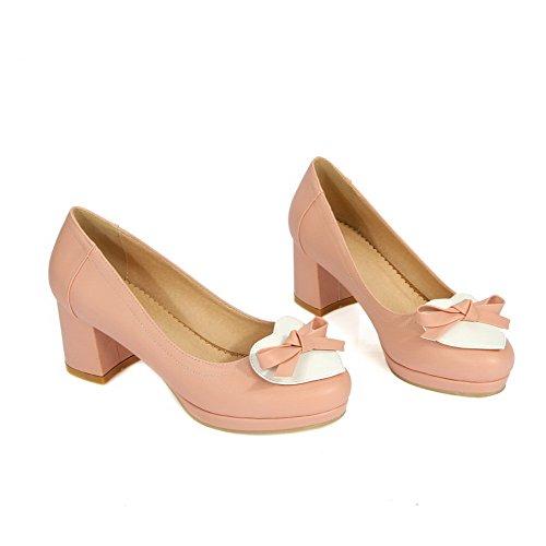 AllhqFashion Damen Pu Leder Mittler Absatz Rund Zehe Ziehen Auf Pumps Schuhe Pink