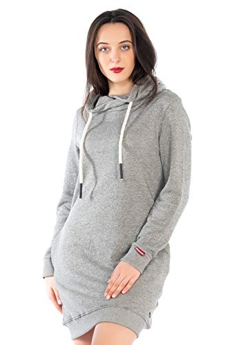KENNY BROWN Damen Pulli-Kleid Sweater Pullover-Kleid Sweatkleid Kordel-Kapuze Hoodie einfarbig modisch Minikleid 502 (Grau, L)