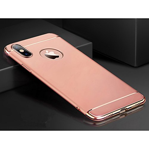 Apple iPhone X / iPhone 10 Hülle, MSVII® 3-in-1 Design PC Hülle Schutzhülle Case Und Displayschutzfolie für Apple iPhone X - Schwarz JY50135 Rose Gold