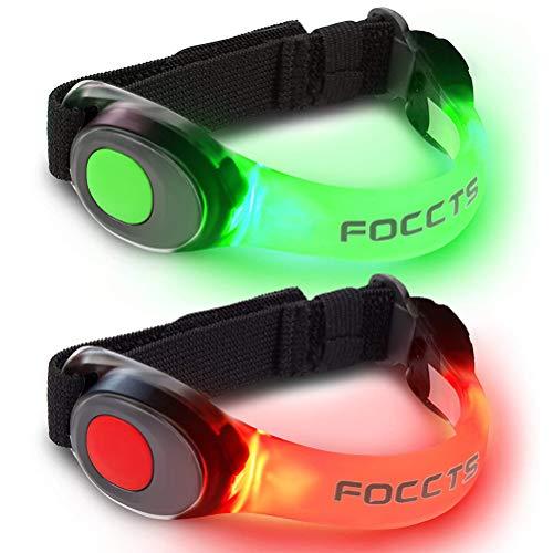 FOCCTS 2 PCS Safety Flashing LED Braccialetti Bright Jogging Light Fasce Riflettenti per Tutte Le attività all'aperto alle Nott