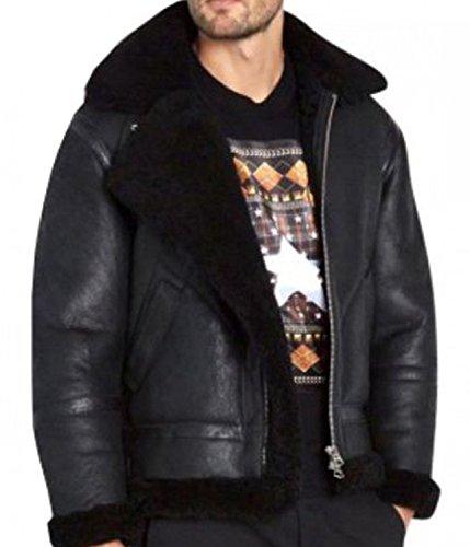 Men's Heavy Duty faux fur biker Black Leather Jacket < BEST SELLER >