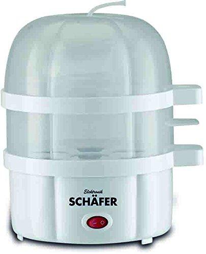 Elektrischer Eierkocher für bis 14 Eier inkl. Messbecher, Eierstecher mit Wassermangelsicherung Transparanter, hitzebeständiger Deckel 350 Watt Weiss