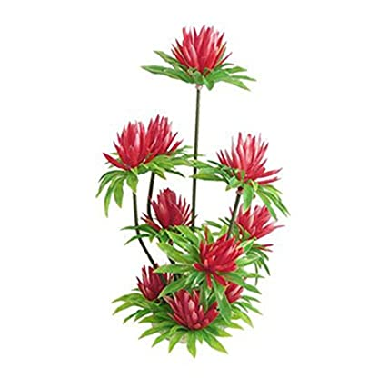 """SODIAL(R) Red Simulated Water Lily Lotus Plastic Plant Ornament 10"""" for Fish Tank Aquarium 2"""