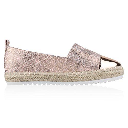 Japado Komfortable Damen Espadrilles Bequeme Slipper Funkelnde Glitzerapplikationen Modische Sommer Schuhe Gr. 36-41 Rose Gold New