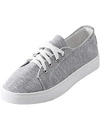 Zapatos planos de mujer bajos casual correa,Sonnena ❤️ Zapatos de mujer de moda Zapatos de lona de color sólido Zapatos confortables de suela Zapatos con cordones