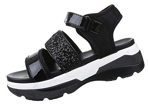 Damen Sandalen Schuhe Dianetten Plateau Damenschuhe Glitter Schwarz Silber 36 37 38 39 40 41 Schwarz
