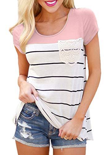 Flying Rabbit Damen Shirt Sommer Kurzarm Farbblock Streifen Tops Rundhals Bluse, Stil1-rosa, XXL