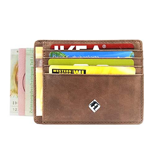 Frau Besonderen Anlass Hose Passt (FreeHaveFun® Vintage Leder RFID Schutz Kreditkartenetui braun | Slim Wallet Mini Geldbörse | Portemonnaie | Minimalist Geldbeutel | Herren Kartenetui | NFC Blocker Brieftasche | Kartenhalter klein)