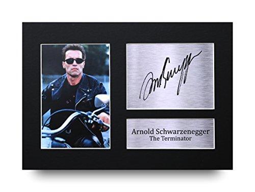 Signiertes Autogramm von Arnold Schwarzenegger - The Terminator, Druck, A4, mit Foto, tolle Geschenkidee
