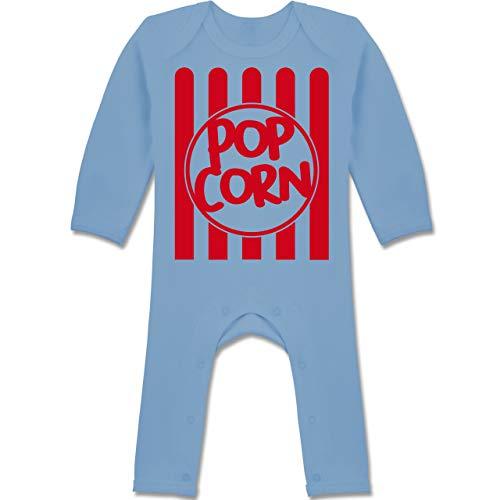 Shirtracer Karneval und Fasching Baby - Popcorn Karneval Kostüm - 12-18 Monate - Babyblau - BZ13 - Baby-Body Langarm für Jungen und Mädchen