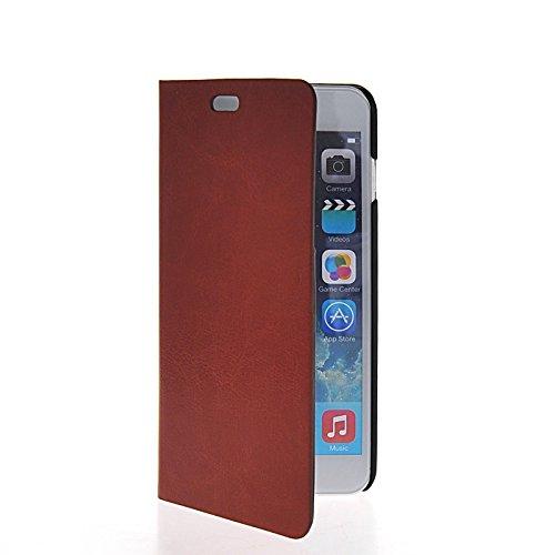 MOONCASE Coque en Cuir Portefeuille Housse de Protection Étui à rabat Case pour Apple iPhone 6 Plus Voilet Brun 04