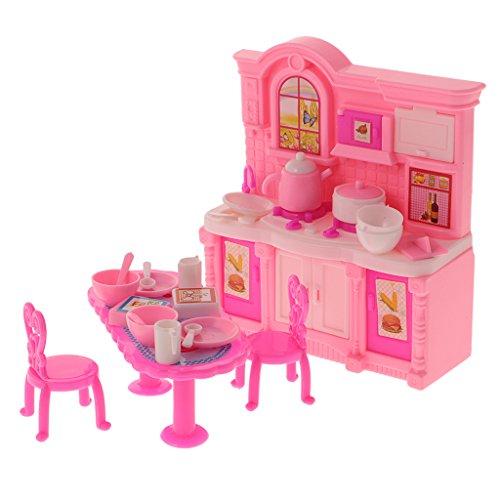 Gazechimp 26 PCS Miniatur Puppen Küchen Möbel Set für 10 cm Barbie Kelly Puppen Zubehör - Pink - Küche Puppe