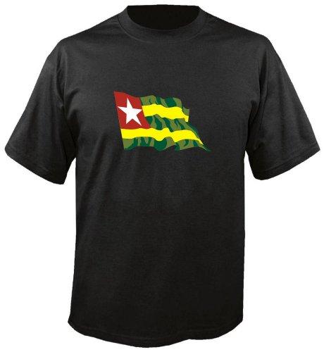 T-Shirt für Fußball LS178 Ländershirt mehrfarbig Togo - Togo mit Fahne freie Farbwahl