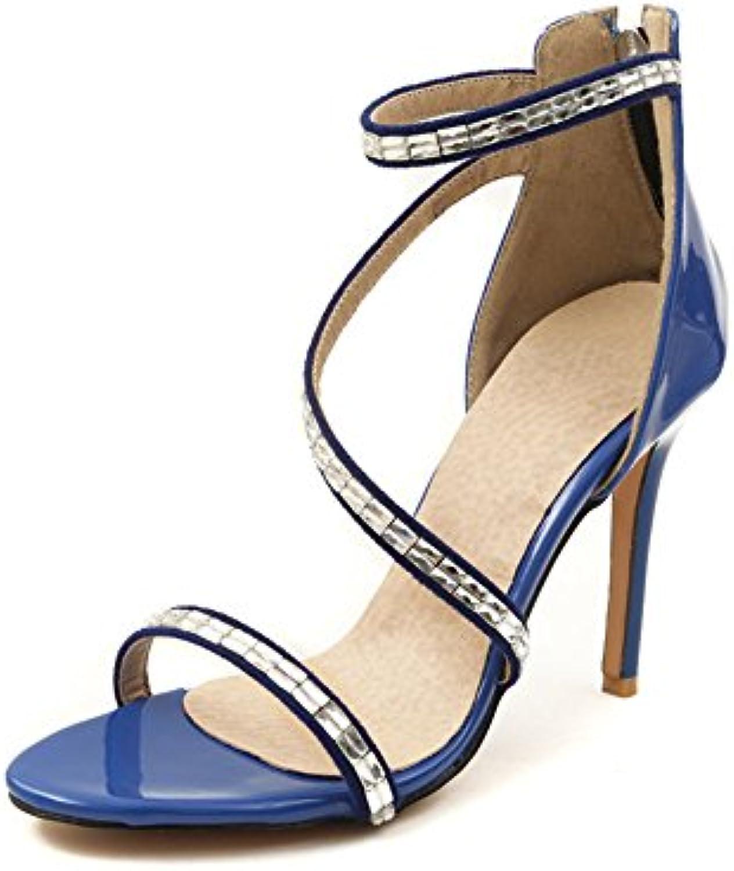 ZHIRONG Sandali tacco alto estate donna open toe toe toe strass scarpe tacco nudo romano 11,5 cm rosso nero blu ( Coloreee... | In Breve Fornitura  60d5a0