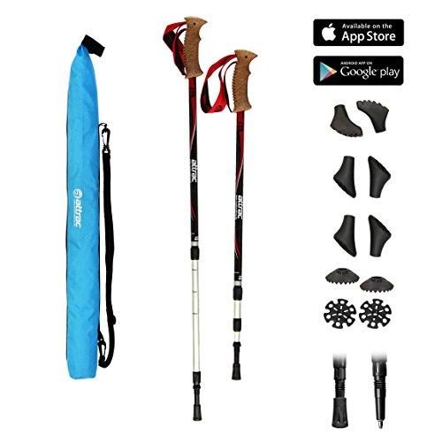 POWRX Wanderstöcke Trekkingstöcke Teleskop Verstellbar Climber oder Hiker Edition mit Anti-Shock Dämpfung + Tasche und Nordic Walking/Fitness App (Hiker)